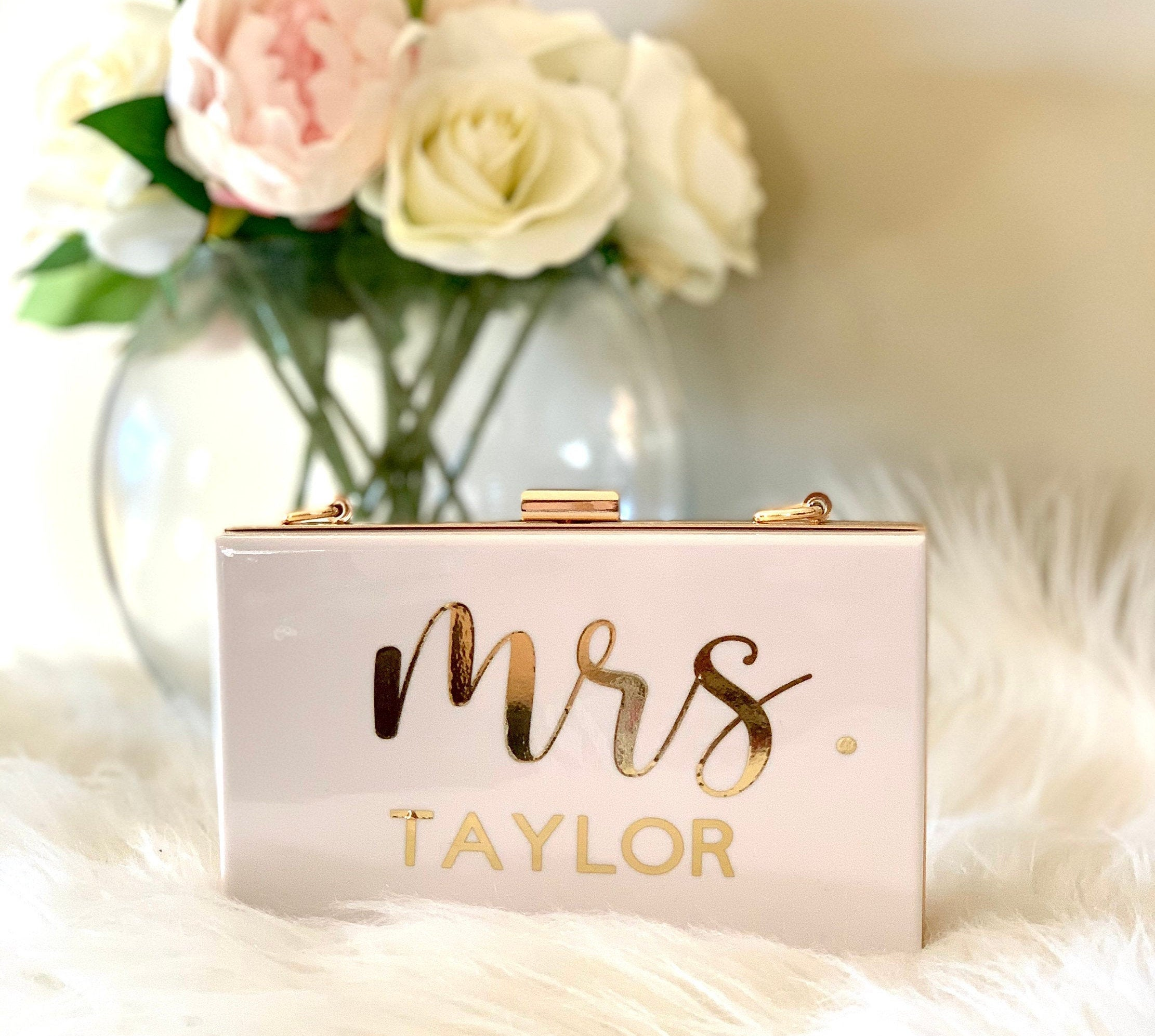 Mrs Purse Bride Clutch For Wedding Bridal Custom Gift To Be Personalized