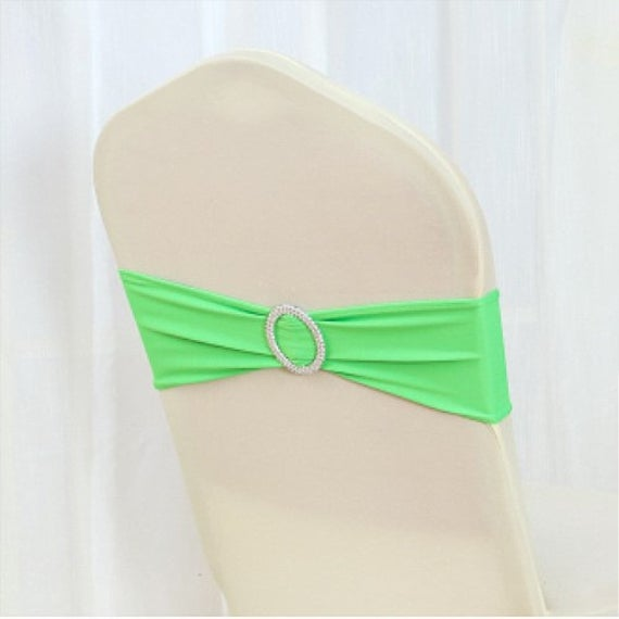 Neon Green Spandex Chair Bands Sashes Bow Tie Ribbon Wedding Engagement Birthday Party Reception Bouquet Venue Decoration