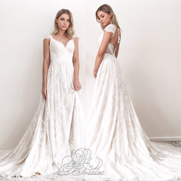 New Lace Boho Wedding Dress With Cap Sleeves, Backless V - Neckline Bridal Long Train, Champagne/White