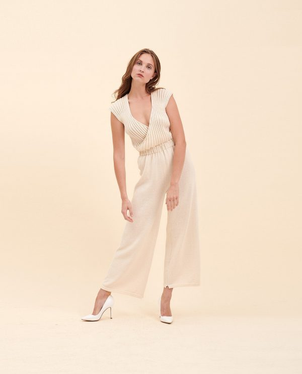 Off-White Knit Overall, Wedding Elegant Pantsuit, Outfit, Dress Alternative, Pantsuit