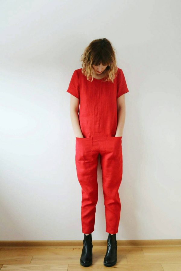 Offon/Linen Jumpsuit Jumper For Women Red Overall Available in 44 Colors