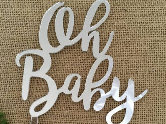 Oh Baby Silver Mirror Wedding Shower Cake Topper