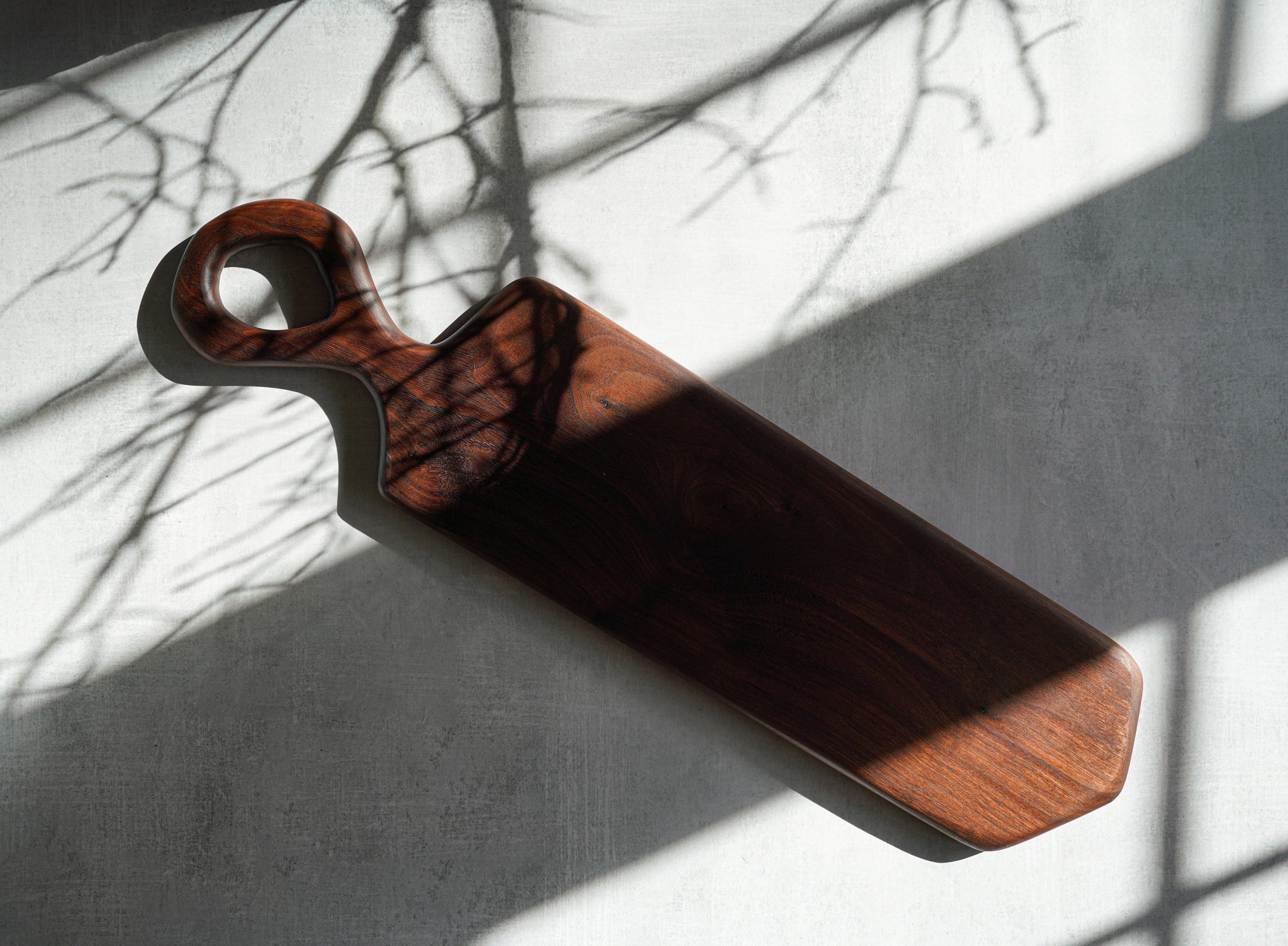 Organic Shaped Wood Serving Board With Handle - Carved By Hand Offered in Local Pennsylvania Walnut, Sycamore, Maple Long