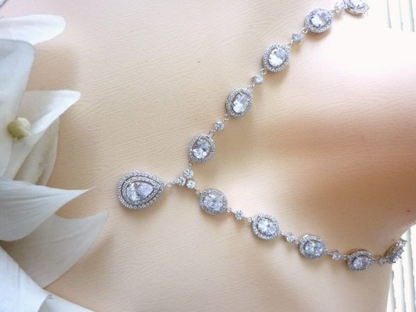 Original Design - Wedding Bridal Necklace Halo Full Clear White Oval & Round Cubic Zirconia With Double Hoop Peardrop Cz Pendant