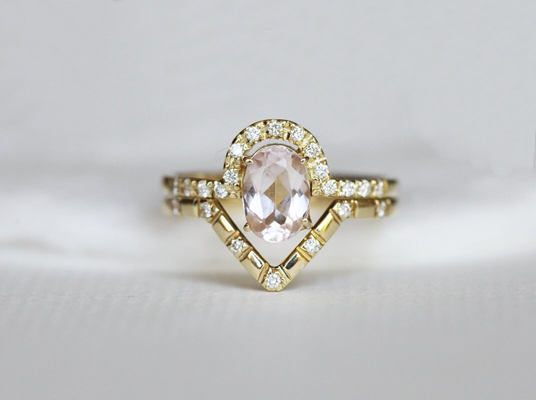 Oval Morganite Wedding Ring Set, Matching Curved Diamond Band & Halo Ring, Engagement Or Anniversary Rings