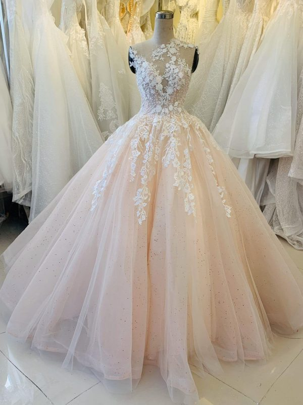 Pastel Pink Vintage Lace Wedding Dress Made To Order, Beautiful Princess Gown For A Fairy Tail Wedding, Unique & Affordable