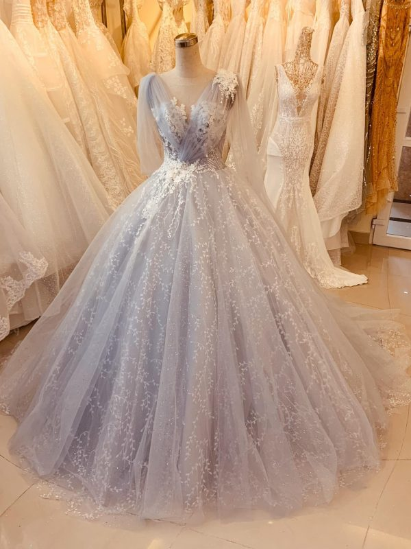 Pastel Purple Vintage Lace Wedding Dress Made To Order, Beautiful Princess Gown For A Fairy Tail Wedding, Unique & Affordable
