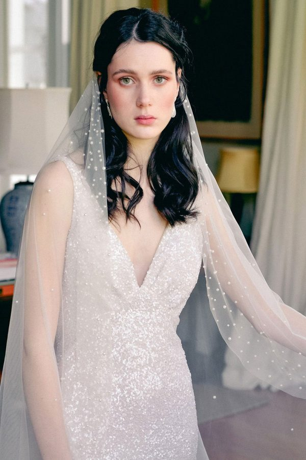 Pearl Wedding Veil, One Tier Veil With Pearls, Ivory Wedding Pearl Veil, Statement Bridal Unique