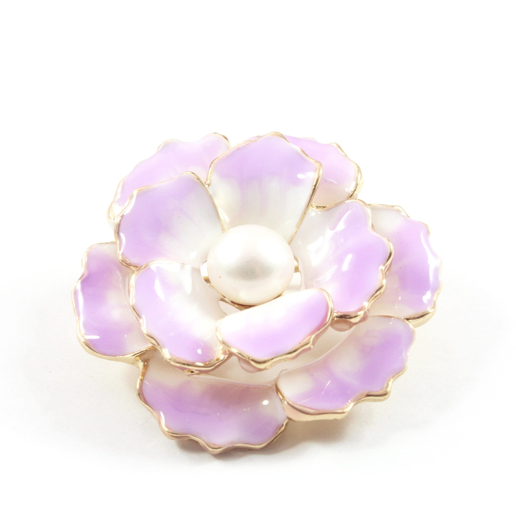 Peony Flower Freshwater Cultured Pearl Brooch 7.5-8.0mm