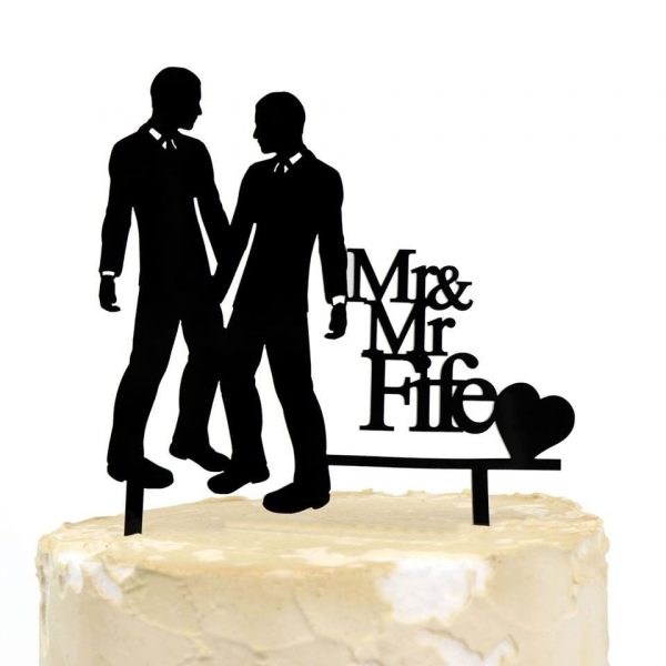 Personalised Wedding Surname Cake Topper Gloss Acrylic Mr & Same-Sex Gay Marriage