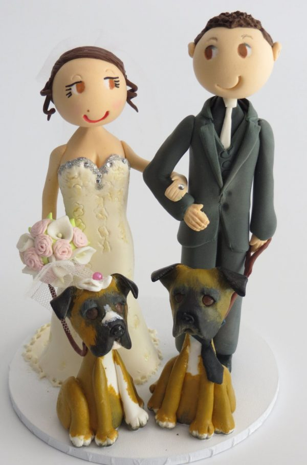 Personalized Bride & Groom Cake Topper With 2 Dogs - Wedding Figurines