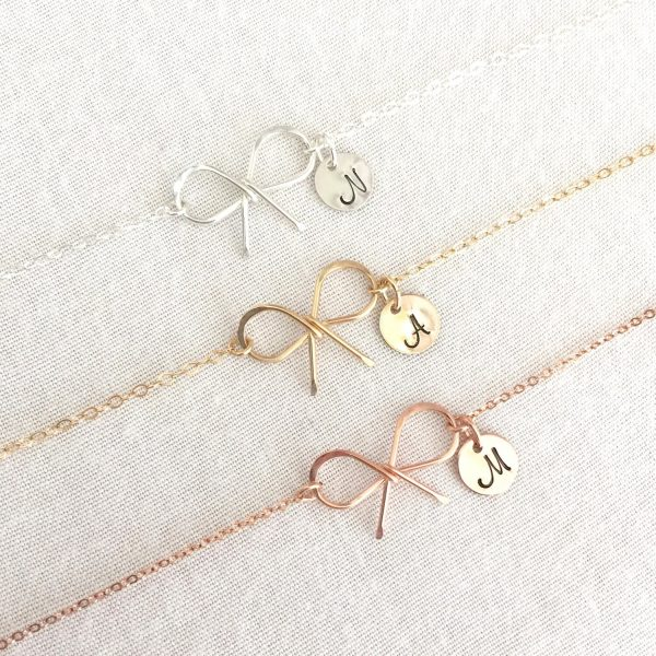 Personalized Tie The Knot Bracelet, Bridesmaid Dainty Bow Initial Customized Wedding Gift, Maid Of Honor Gift