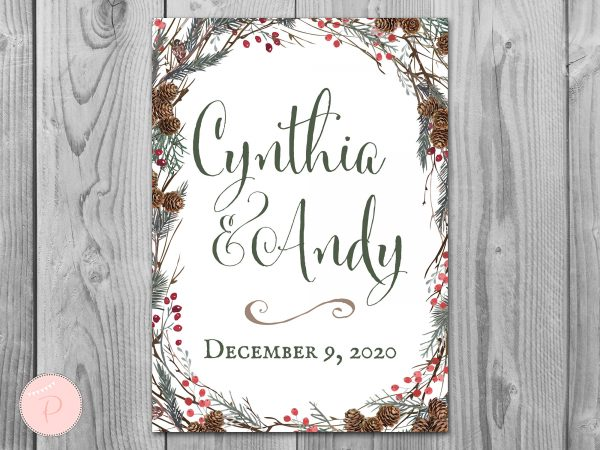 Pinecone Welcome Sign, Engagement Sign, Wedding Personalized Wedding Sign Th58