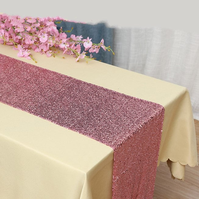 Pink Glitter Sequin Table Runner Engagement Wedding Banquet Ceremony Feast Girl Birthday Anniversary Sparkling Party Dining Decoration