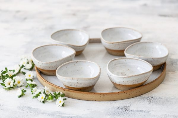 Pottery Wedding Gift, Modern Passover Seder Plate, Pesach Plate, White Ceramic Bowl Set, Serving Tray, Bowl Snack Bowls Set