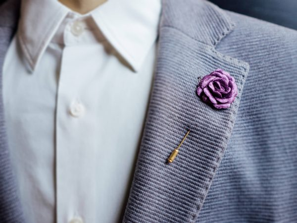 Purple Boutonniere, Suit Brooch, Usher, Mens Lapel Pin, Wedding Prom Rose Lilac, Boutonniere