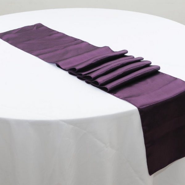Purple Eggplant Satin Table Runners Wedding Banquet Ceremony Feast Birthday Anniversary Sheer Sashes Reception Party Dining Decoration