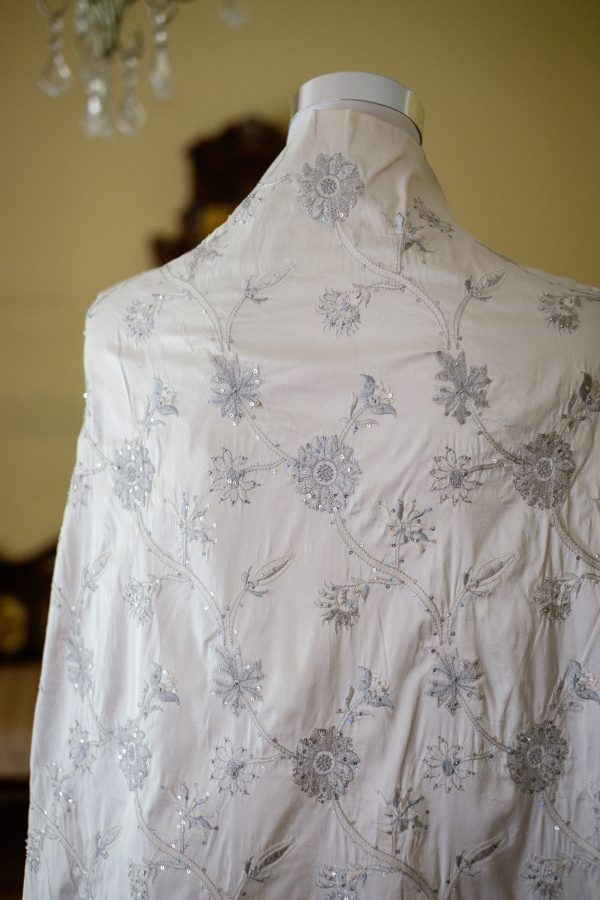 Raw Silk Fabric - Bridal Dress Wedding Gown Cream Colour With Thread Embroidery Hand Finished Beading