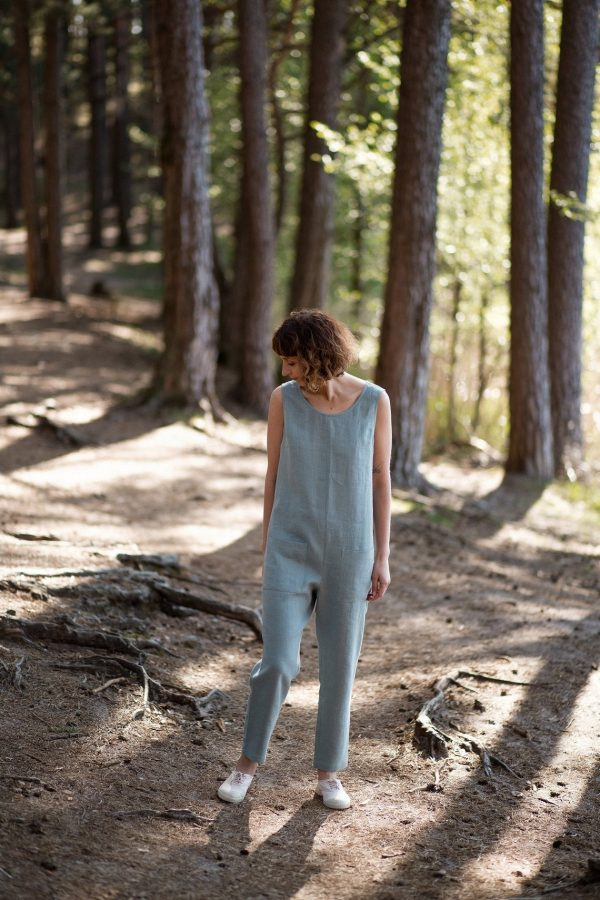 Ready To Ship/Round Neckline /Linen Overall/Jumpsuit/ Romper/Comfortable Fit/ Offon Clothing