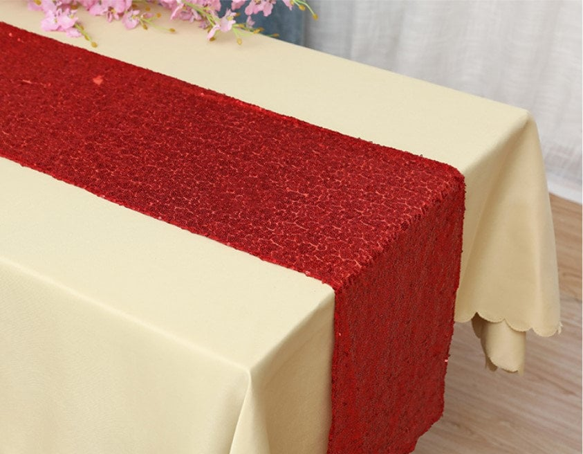 Red Glitter Sequin Table Runners Christmas Decorations Wedding Banquet Ceremony Feast Sparkling Birthday Anniversary Dining Decoration
