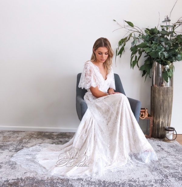 Romantic Lace Wedding Dress With Short Flare Sleeves, Low Back Boho Bridal Gown Long Train