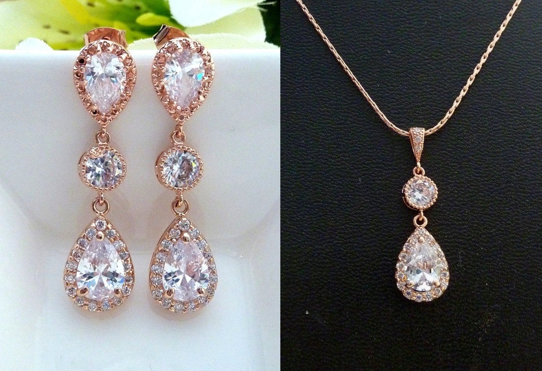 Rose Gold Bridal Earring Necklace Set Wedding Jewelry Pink Cubic Zirconia Set