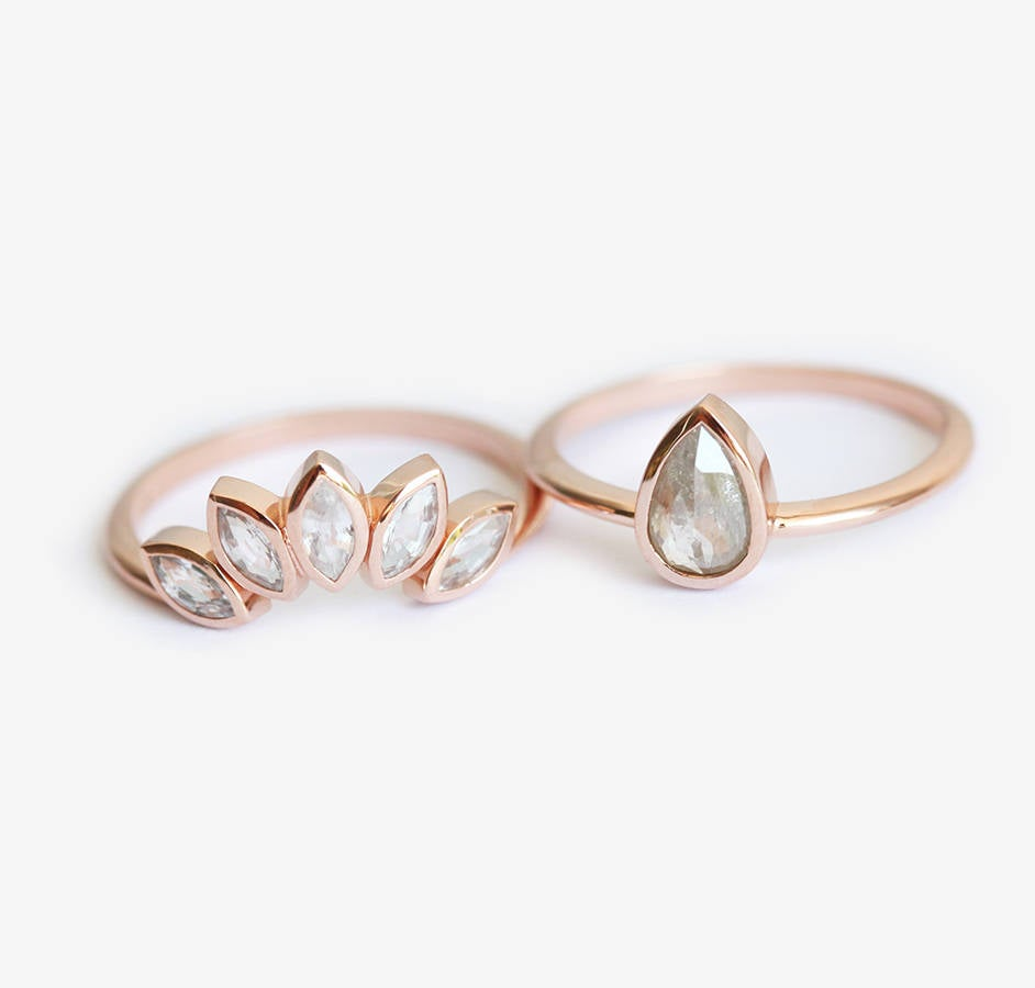 Rose Gold Diamond Ring Set, Wedding Bridal Floral Crown Ring, Pear Solitaire White Saphire Band
