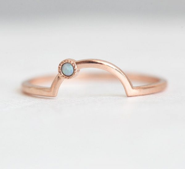 Rose Gold Ring With Opal, Curved Ring, Wedding Band, Stacking Ring, Opal Australian Simple Band