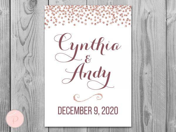 Rose Gold Welcome Sign, Engagement Sign, Wedding Personalized Wedding Th68 Dd