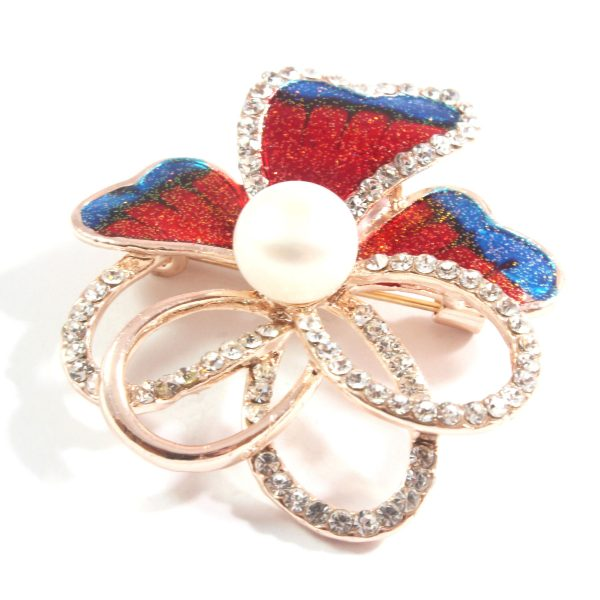 Rose White Freshwater Cultured Pearl Brooch 9.0-9.5mm