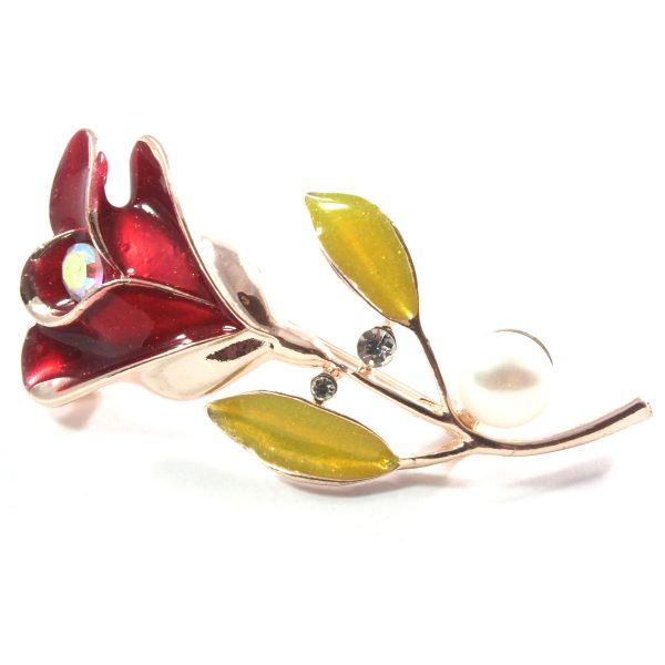 Rose White Freshwater Cultured Pearl Brooch 9.5-10.0mm