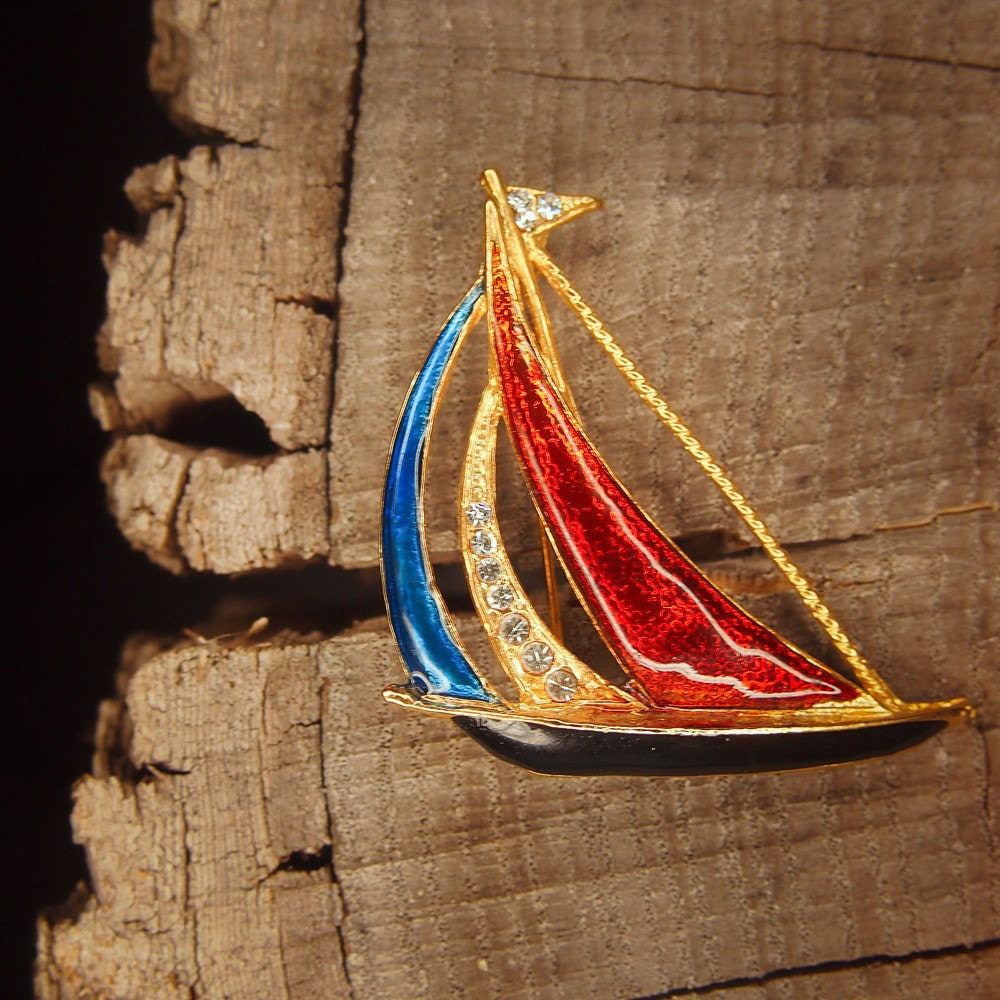 Sail Boat Brooch Pin, Antique Styled Vintage Costume Jewelry Look, Fine Unique Jewellery #5064