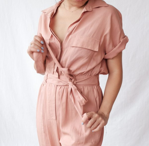 Short Sleeve Jumpsuit Casual 100% Tencel Linen Sustainable Workwear With Waistband Military Utility - Pink