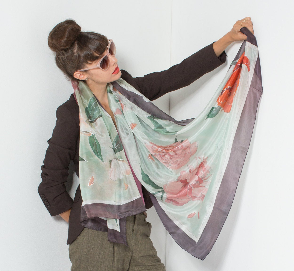 Silk Shawl - Minty Peonies   Hand Painted Silk Scarf Women's Scarf Wedding Wrap Luxury Summer Pareo Mother's Day Gift
