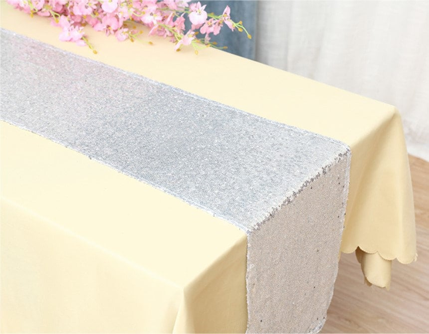 Silver Glitter Sequin Table Runners Engagement Wedding Banquet Ceremony Feast Birthday Anniversary Party Venue Reception Dining Decor