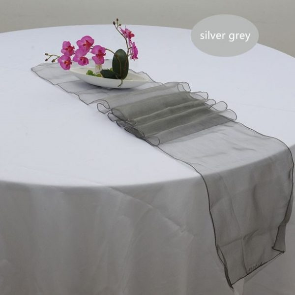 Silver Grey Organza Table Runners Wedding Banquet Ceremony Feast Birthday Anniversary Sheer Chair Sashes Party Dining Decorations