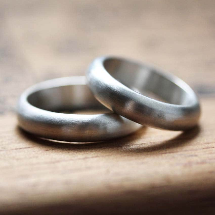 Silver Wedding Band Set, His & His, Hers Hers, Silver Ring Men, Modern Wedding, Brushed Ring, Custom
