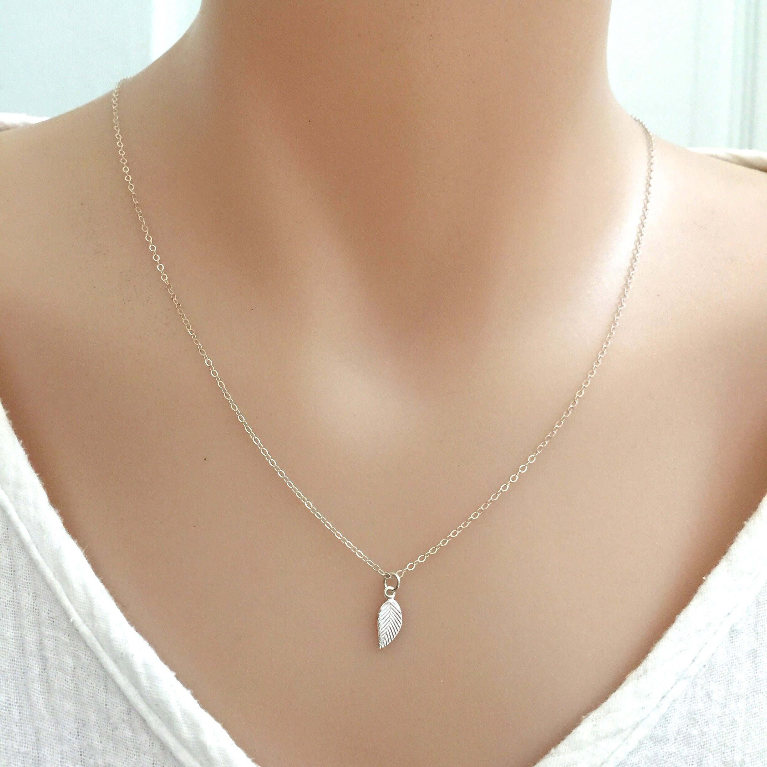 Simple Leaf Necklace, Dainty Leaf, Personalised Bridesmaid Gift, Wedding Jewelry, Friends Everyday Sterling Silver
