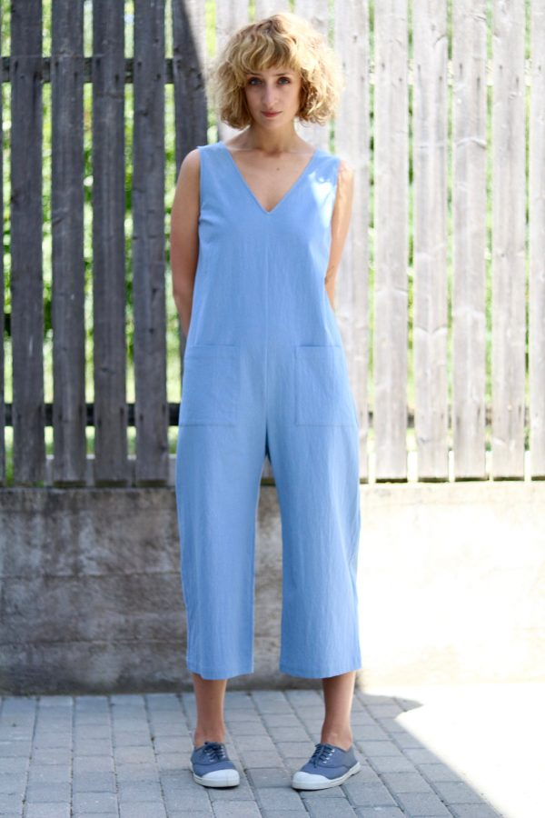 Sleeveless V-Neck Cotton Jumpsuit/Wide Cropped Leg Summer Handmade By Offon Clothing