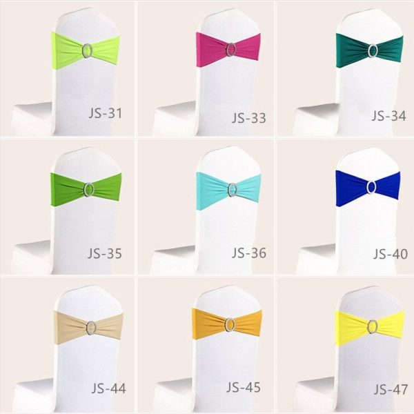 Spandex Lycra Chair Bands Sashes Bows With Buckle Wedding Reception Birthday Decorations Anniversary Function Venue