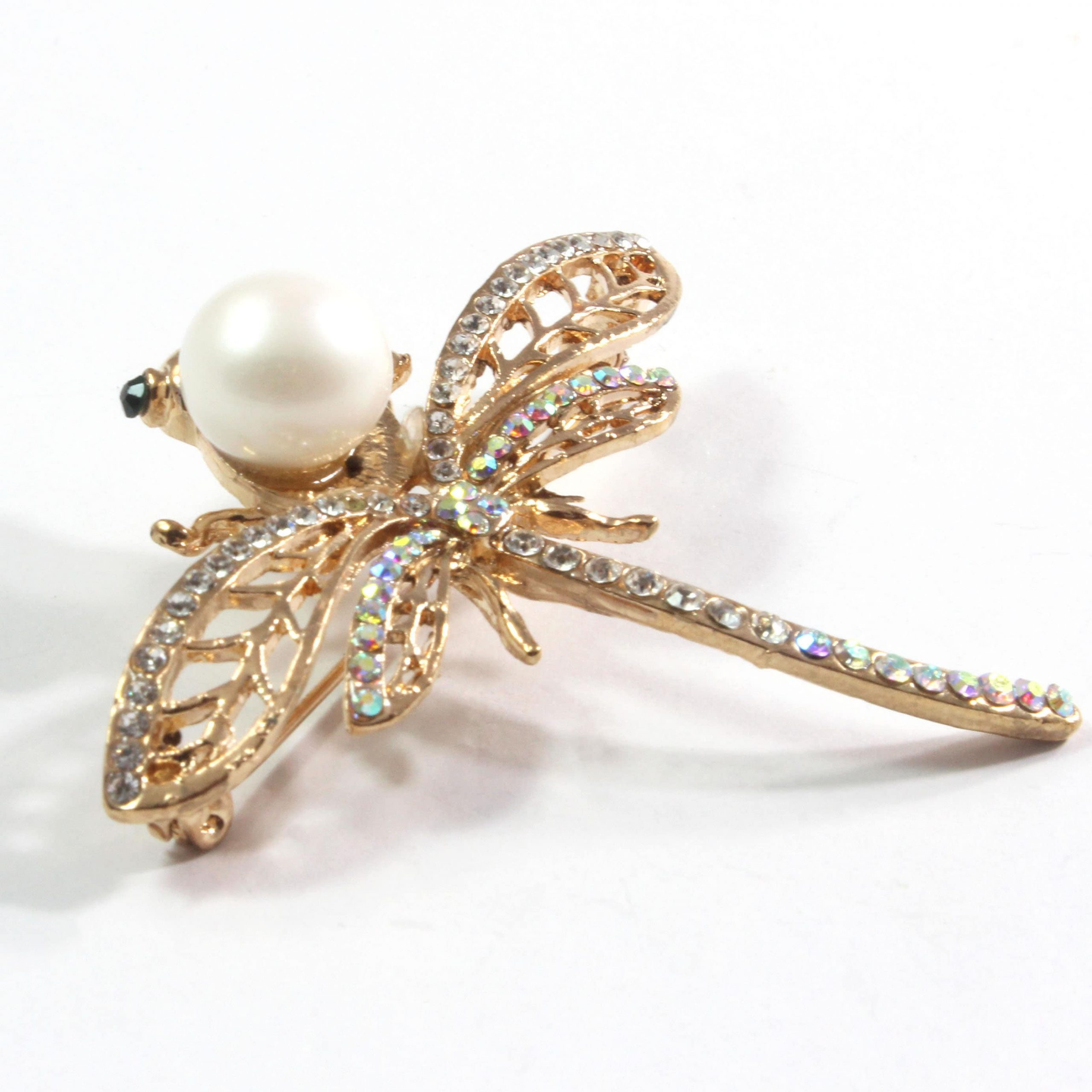 Sparkling Dragonfly White Freshwater Cultured Pearl Brooch 11.5-12.0mm