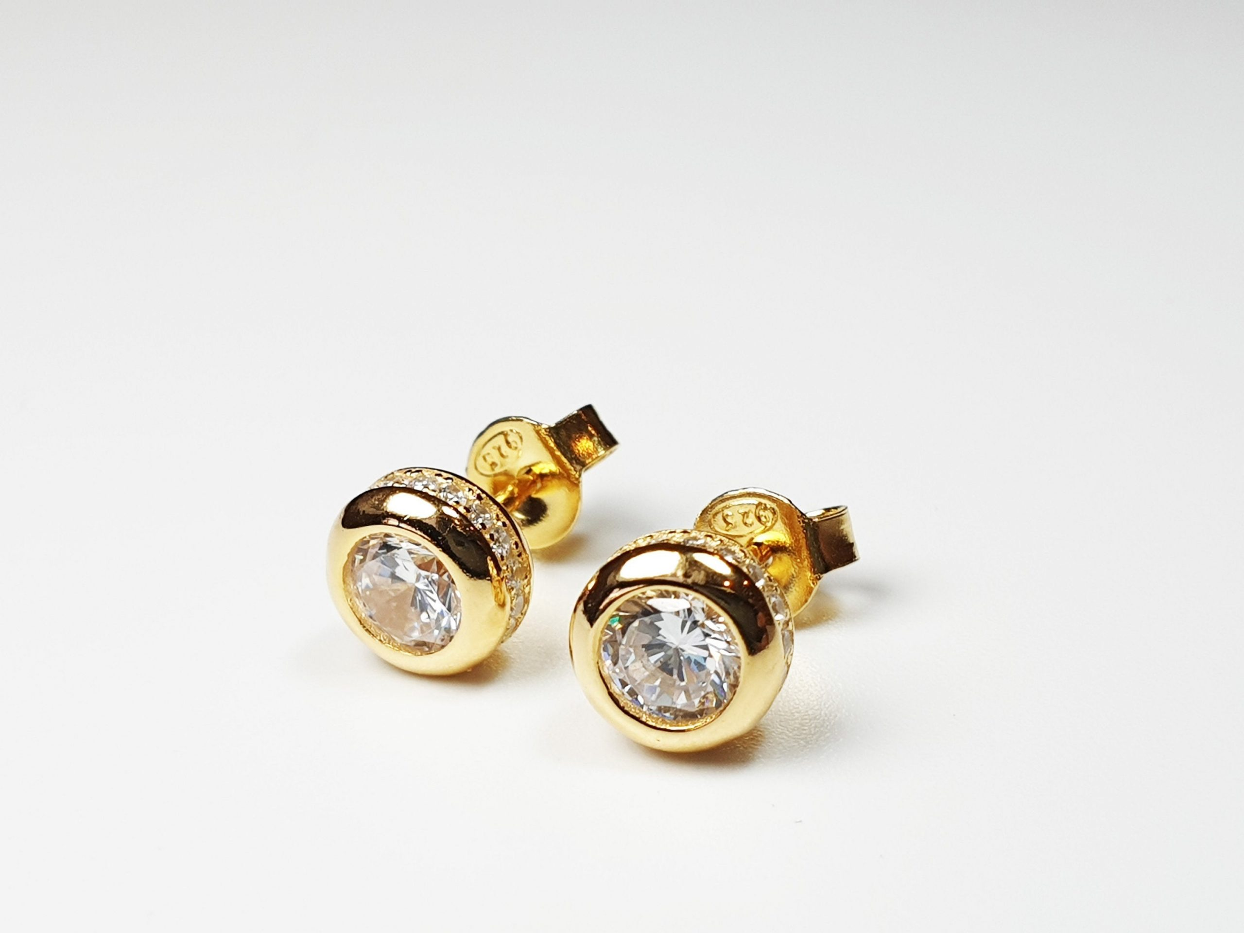 Sterling Silver 5 Mm Cz Round Bezel Stud Earrings, Brilliant Cut Yellow Gold Circle Studs, Halo Setting, Wedding Jewelry