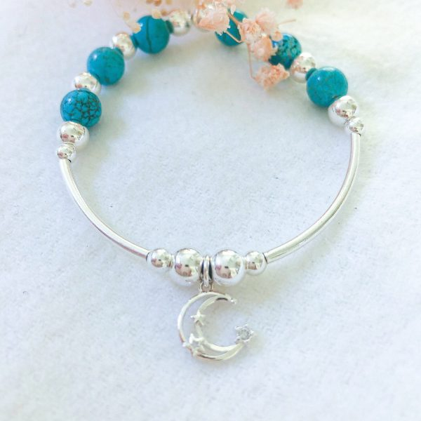 Sterling Silver Noodle Bracelet Turquoise, Moon Charm.bracelets For Women, Beaded Stacking, Girls Gifts, Wedding Gift
