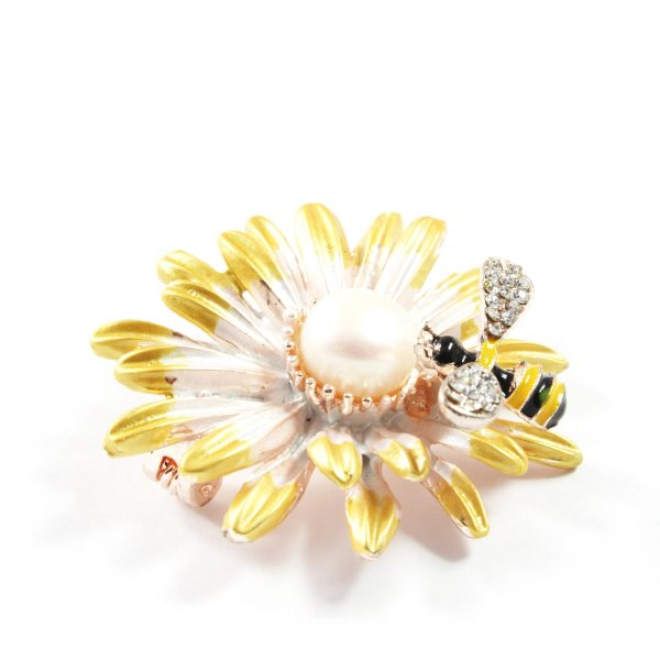Sunflower Freshwater Cultured Pearl Brooch 7.5-8.0mm