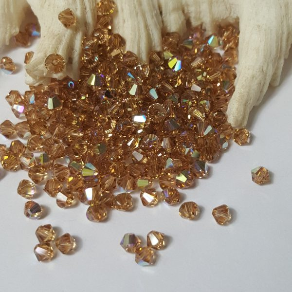 Swarovski 4mm Bicone Faceted Crystal Beads - Light Colorado Topaz Ab Select 20 Or 50