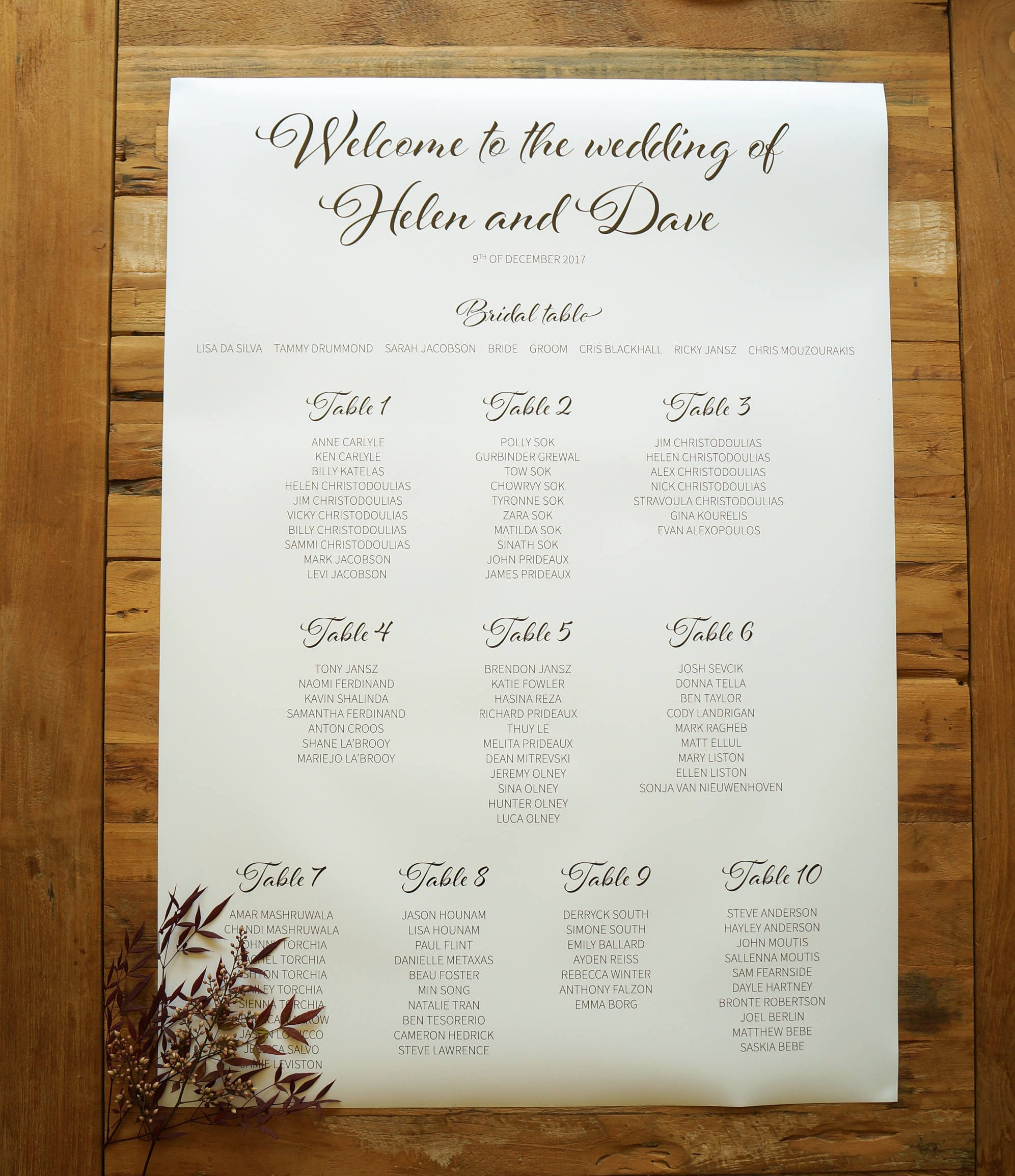 Table Seating Chart | Wedding Sign Plan Custom Signage Stationery Suite Welcome