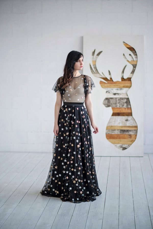 Tamsin - Black Dress With Sequin Stars/Alternative Wedding Prom Performance Flutter Sleeves
