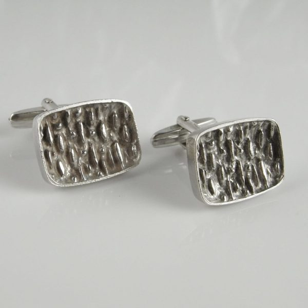 Textured Silver Cuff Links Gifts For Groom Wedding Day Vintage 1950S Jewelry Accessories Unisex Mens Unique Cufflinks Fiance Brother