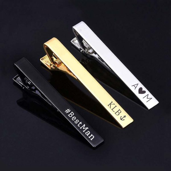 Tie Clip Custom Engraving Personalised Pin Suit Gift Father's Day Groom Bestman