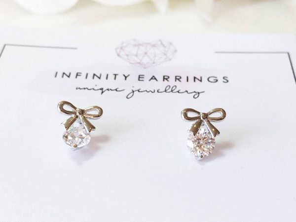 Tiny Bow Earrings, Stud Silver Studs, Small Ribbon Crystal Earring, Delicate Mini Knot Earrings, Wedding Gift